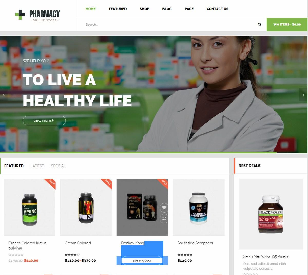 Mẫu Website y tế - Pharmacy
