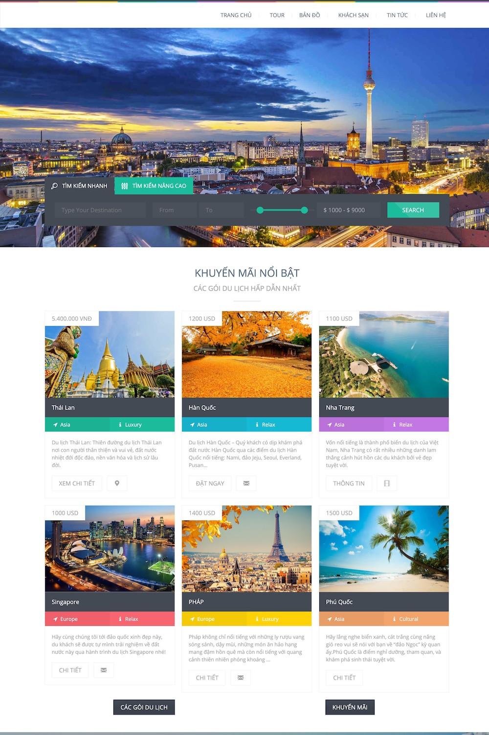 Mẫu Website du lịch - Love Travel