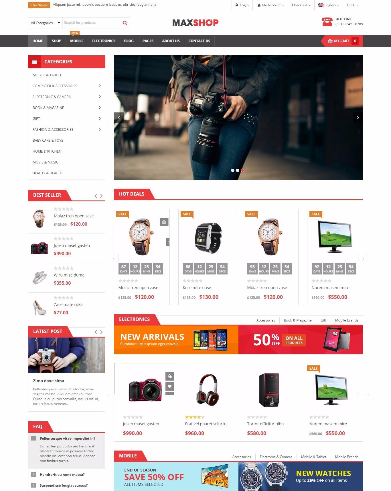 Mẫu giao diện website doanh nghiệp - bán hàng công nghệ