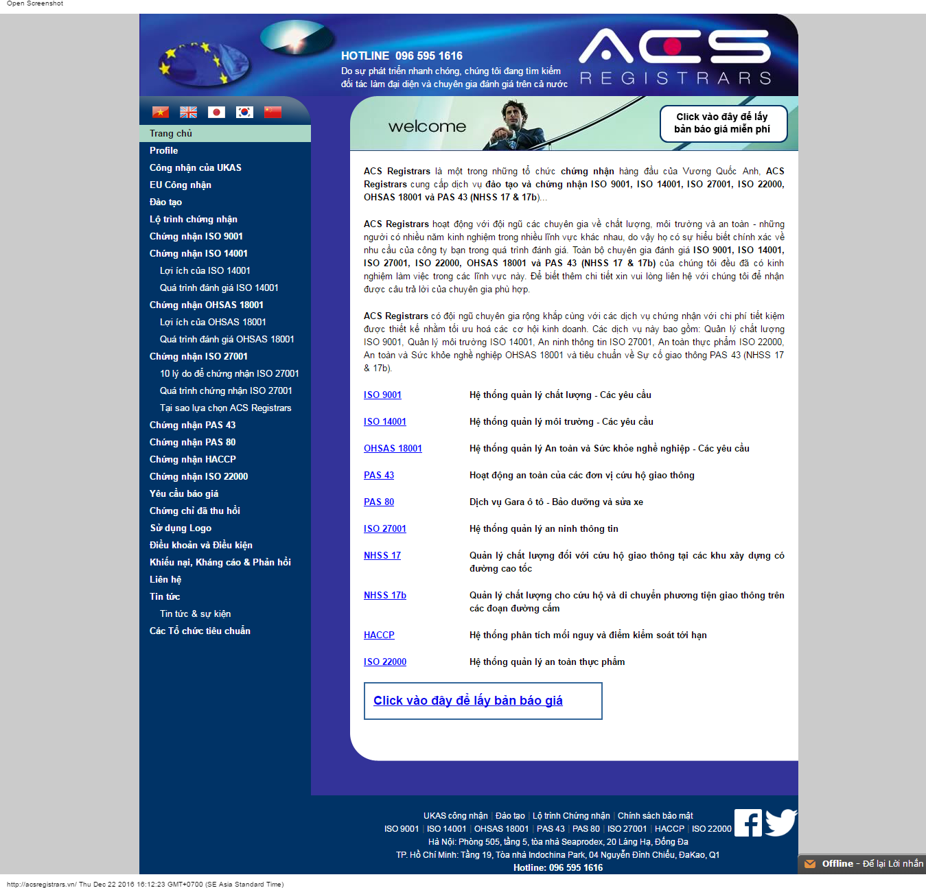 Giao diện chứng nhận ISO 2