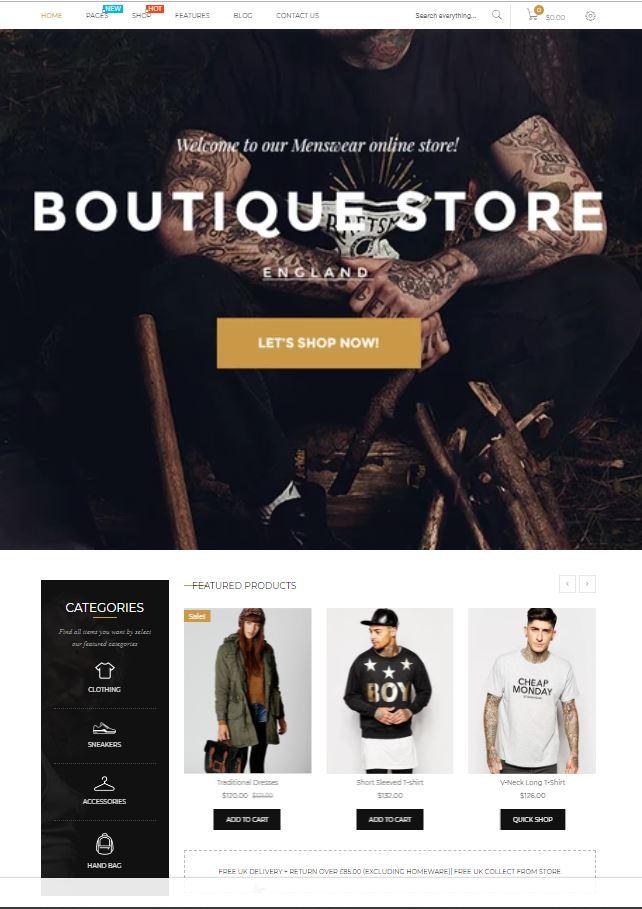 Mẫu website bán hàng thời trang - Boutique1