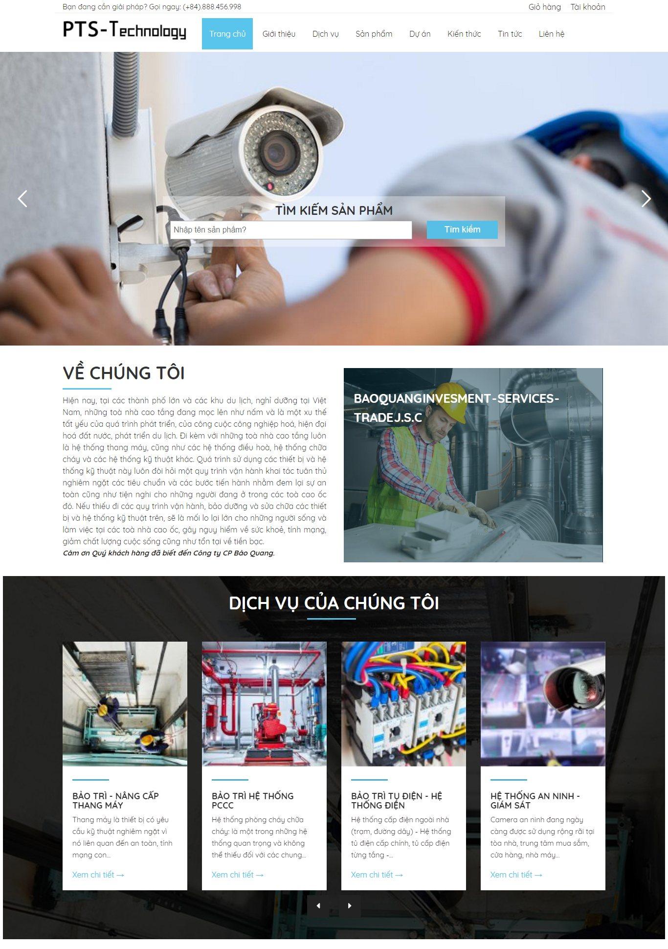 Mẫu giao diện website doanh nghiệp- dịch vụ công nghiệp