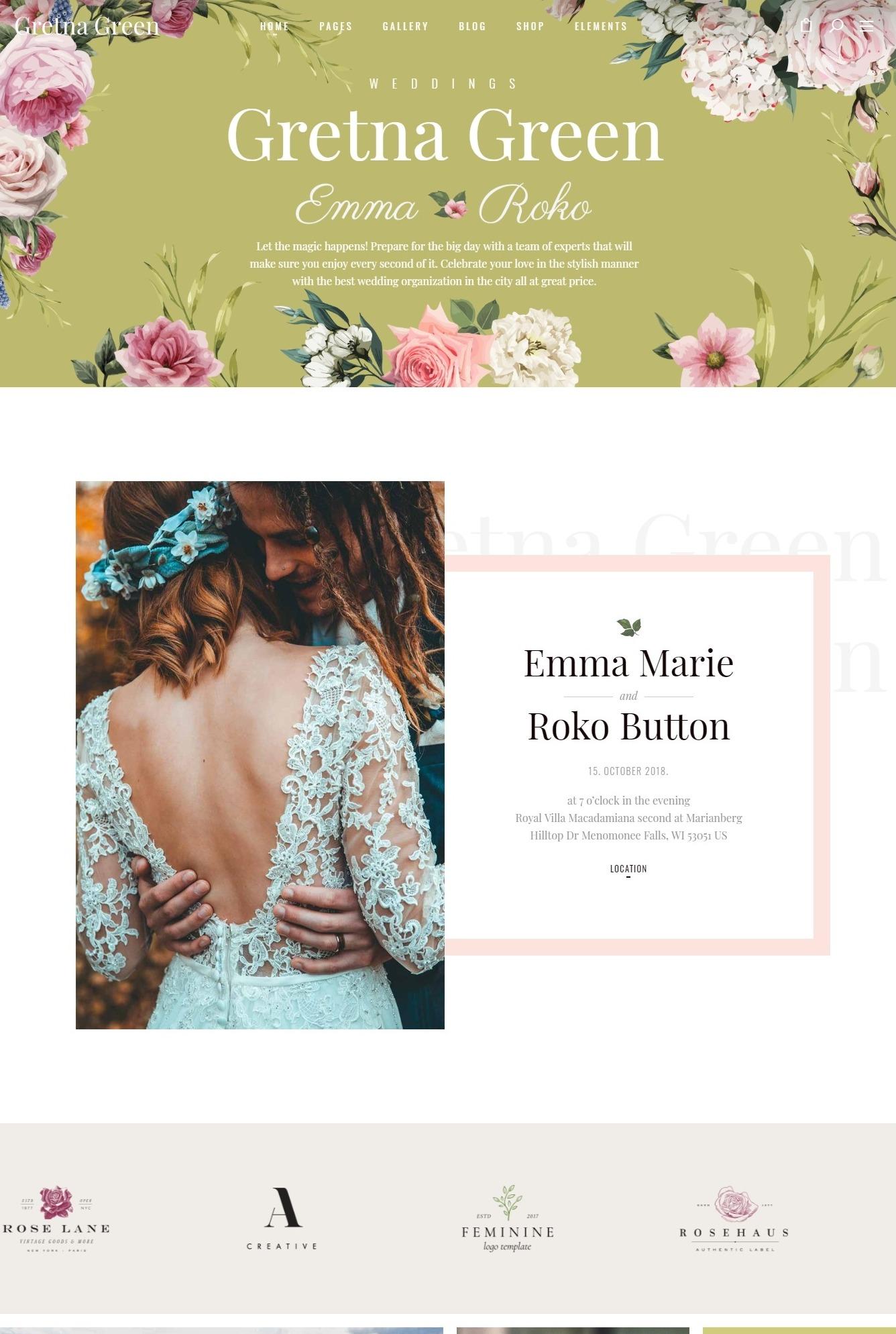 Mẫu giao diện website doanh nghiệp- dịch vụ cưới
