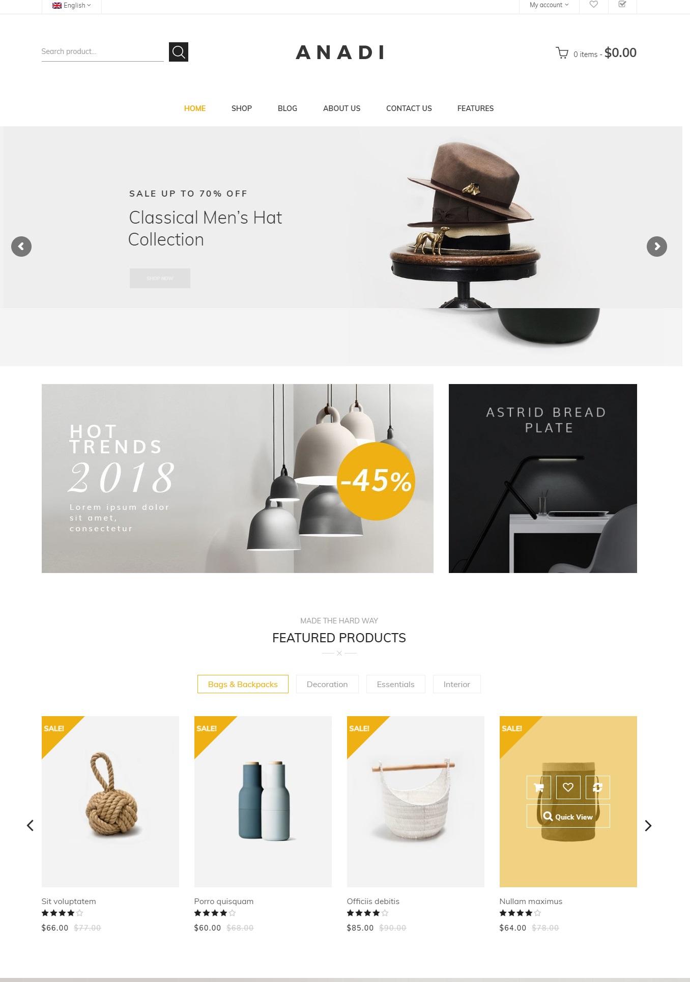 Giao diện website nội thất-Anadi