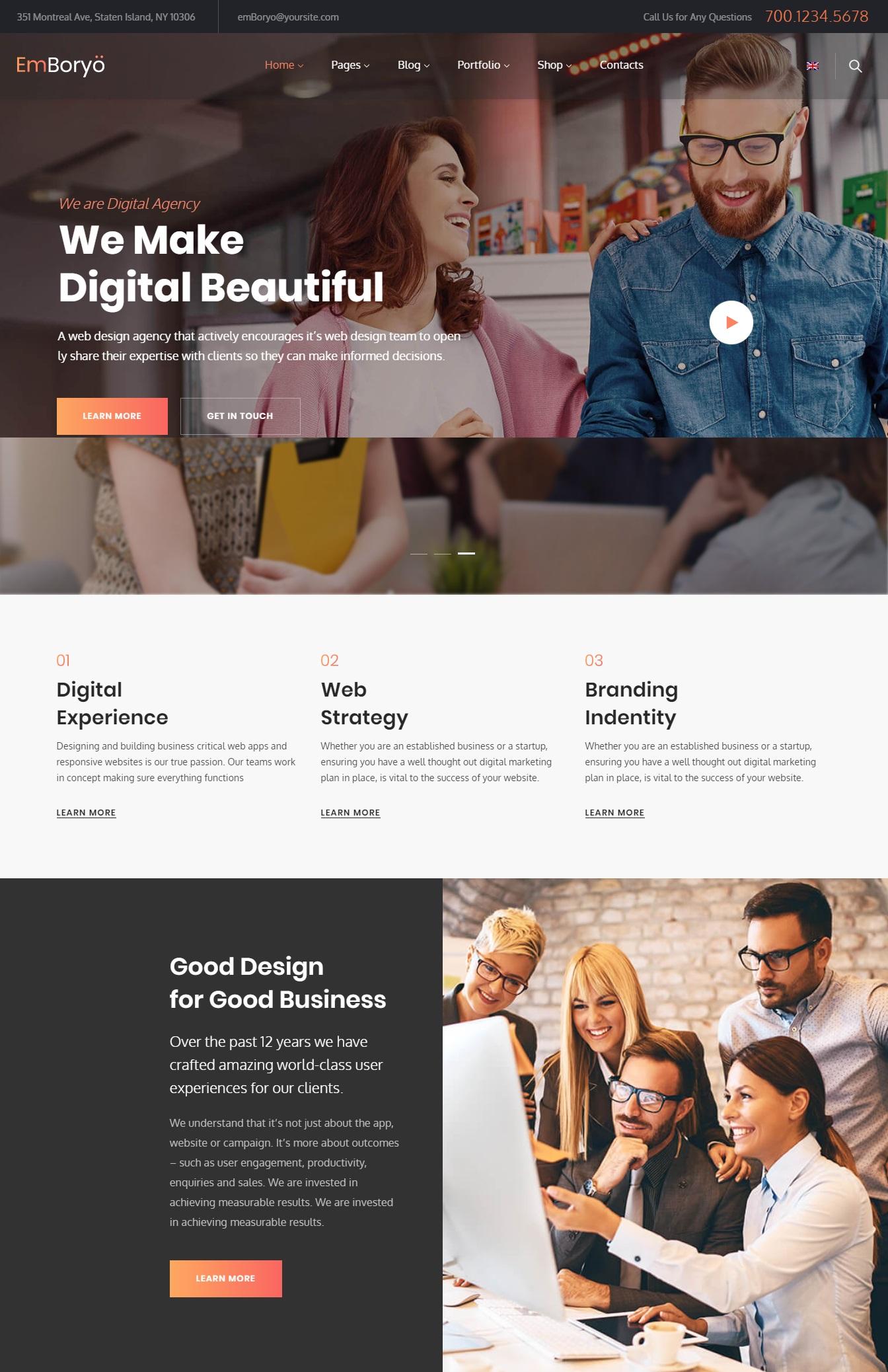 Mẫu website giới thiệu công ty-Emboryo