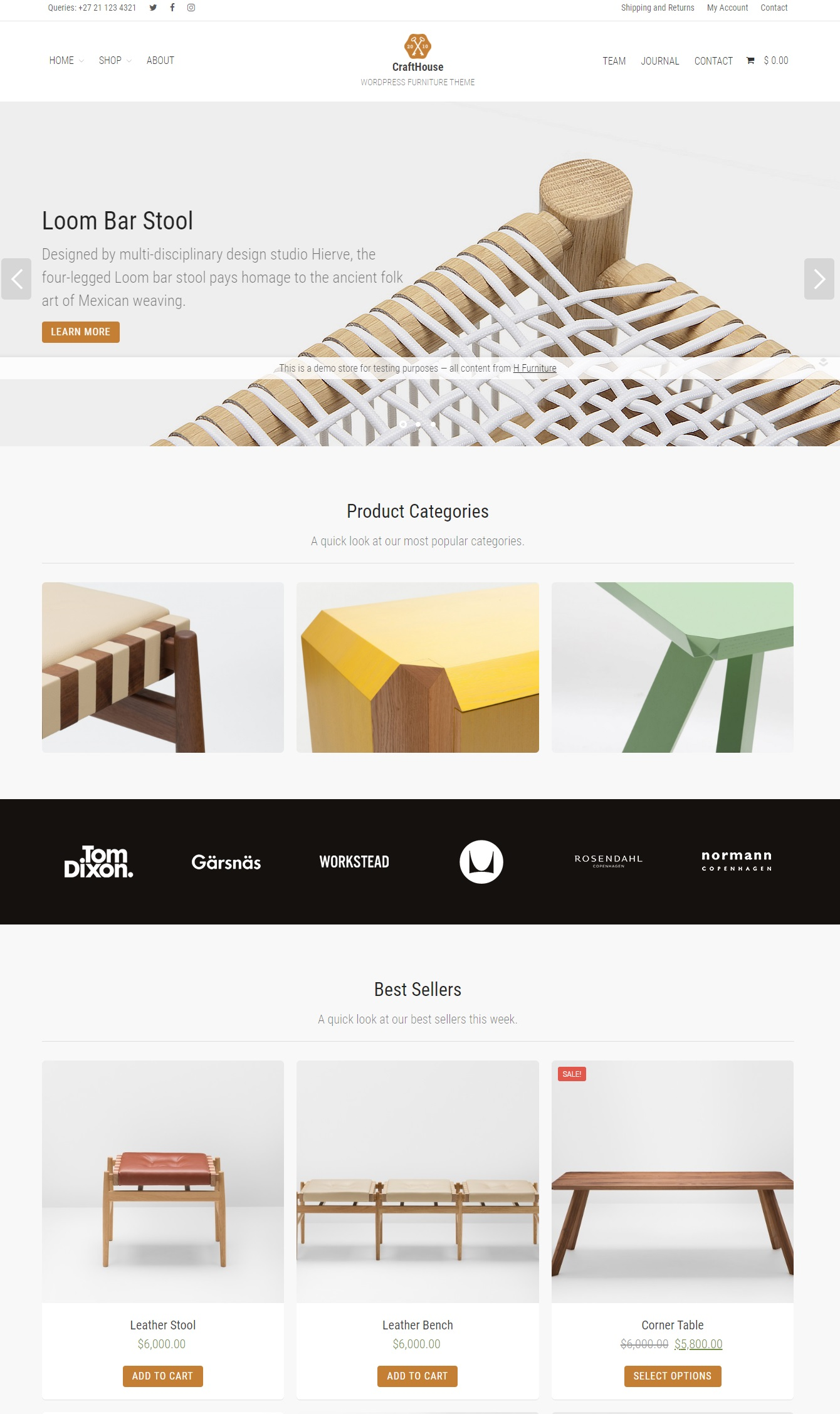 Giao diện website nội thất-Crafthouse