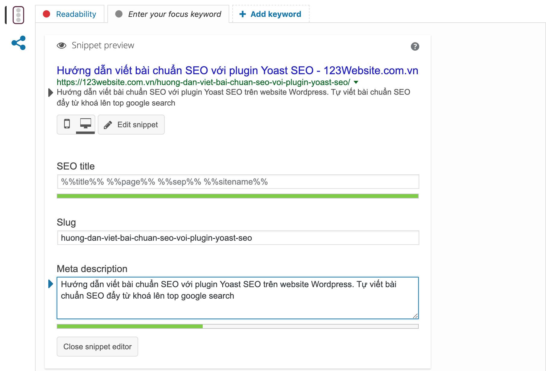 Khung giao diện snippet thể hiện thông tin hiện thị kết quả của Yoast SEO