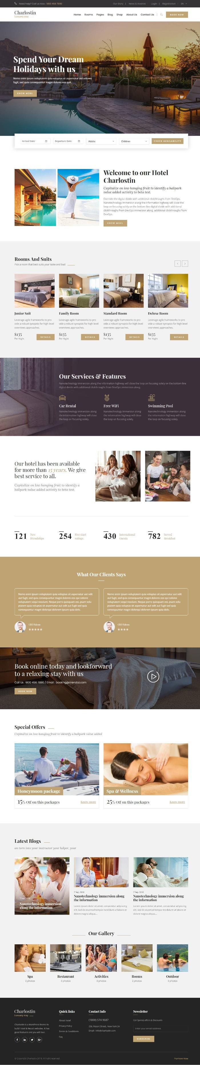 Mẫu Website Khách Sạn - Charlostin