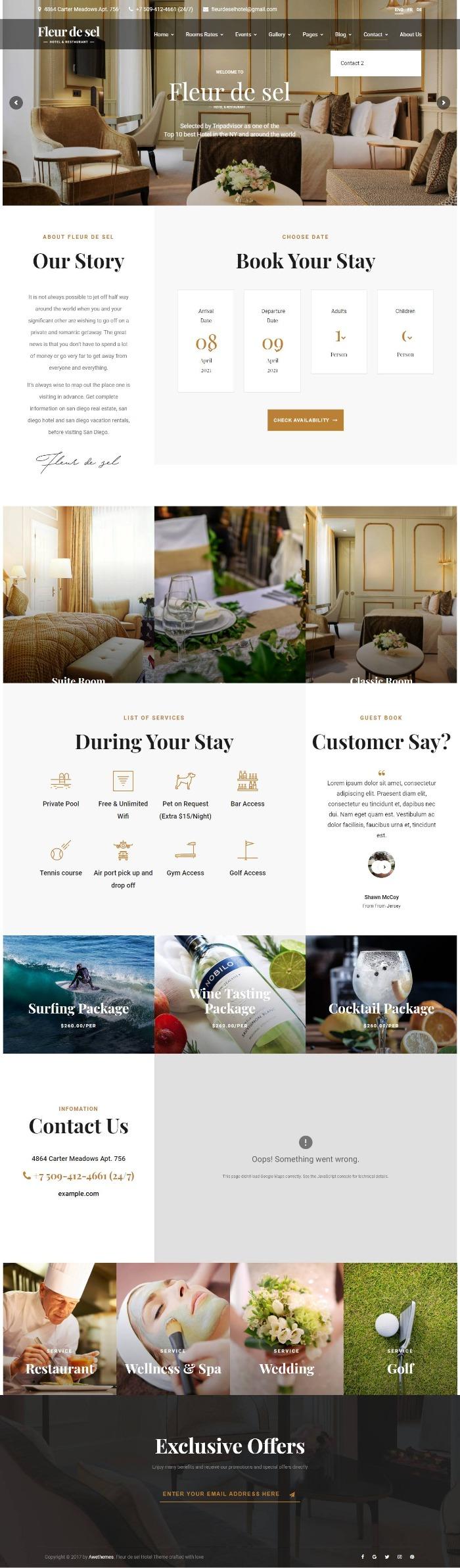 Mẫu Website Khách Sạn - Fleurdesel