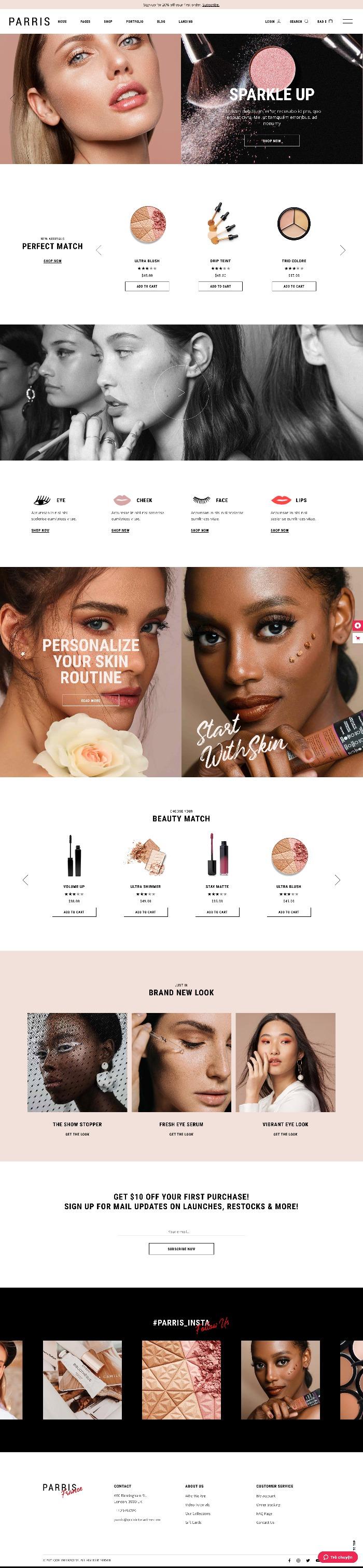 Mẫu Website Bán Hàng Mỹ Phẩm Parris Cosmetics Store