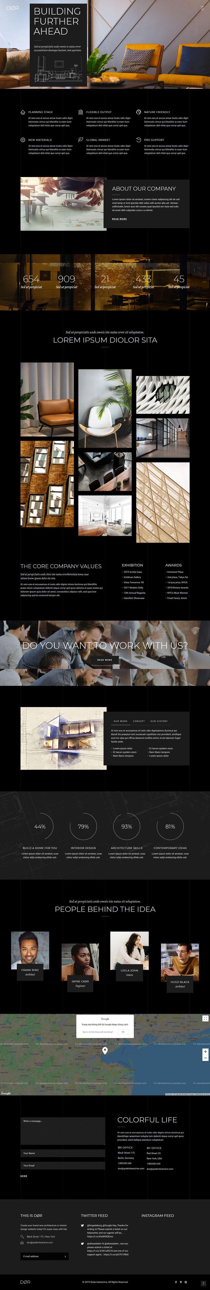 Mẫu website dịch vụ thiết kế nội thất - Dor