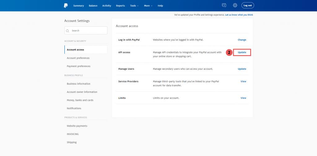 Truy cập API Access - Tích hợp thanh toán PayPal