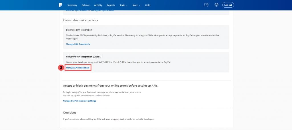 Truy cập Manage API Credentials - Tích hợp thanh toán PayPal