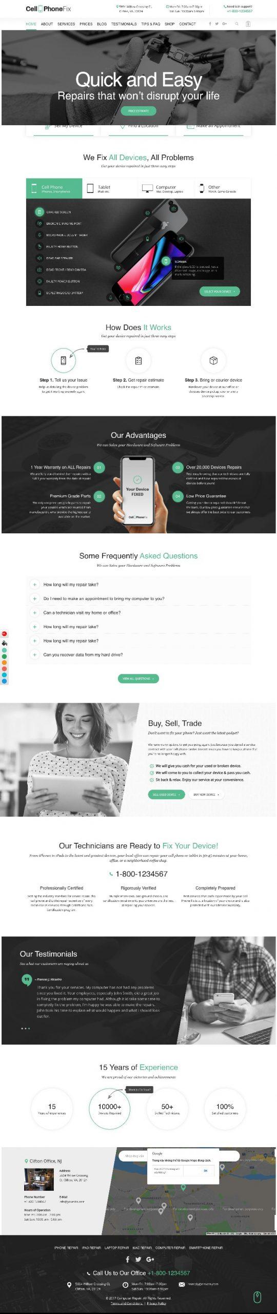 Mẫu Website Giới Thiệu Dịch Vụ Sửa Chữa Điện Thoại Cellphone Fix